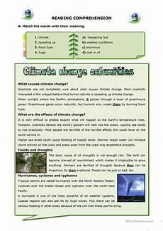 weather reading worksheets 14657 climate change calamities worksheet free esl printable worksheets made by teachers