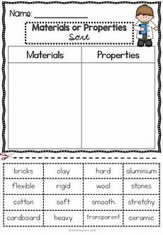 materials and properties worksheets printables by