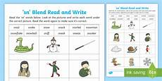 sn blends read and write worksheet phonics consonant cluster
