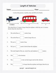 measurement word problem worksheets grade 3 1674 compare the length of 3 vehicles analyze your finding and solve the length word problems grade