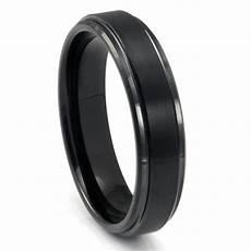 black tungsten carbide wedding band ring w raised center