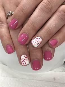 pink valentines gel nails valentines nails