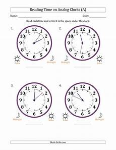 time reading worksheets 3166 reading time on 12 hour analog clocks in 1 minute intervals large clocks a