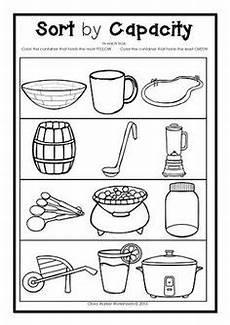 capacity worksheets for kindergarten worksheets volume