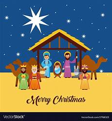 merry christmas greetings with jesus born in vector image