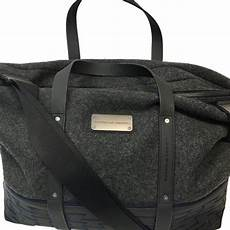 porsche design charcoal wool with leather trim large tote