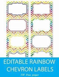 Free Editable Rainbow Chevron Labels Editable Name Tags