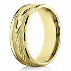 designer men s wedding ring in 10k yellow gold engraved 6mm