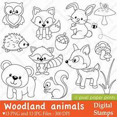 baby woodland animals coloring pages 17514 woodland animals digital sts clipart etsy