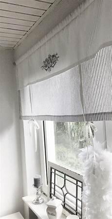 gardinen landhaus raffrollo gardine shabby gestreift grau o beige w