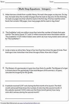equation word problems worksheets