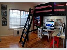 My nook ? project completion   Ikea loft bed hack, Boys