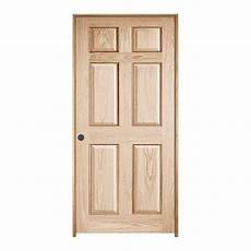 jeld wen 36 in x 80 in oak unfinished right hand 6 panel wood single prehung interior door