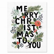 val merry christmas typography print canvas winter art illustrated art