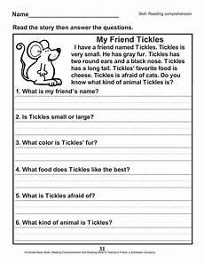 reading comprehension worksheets free 18622 40 scholastic 1st grade reading comprehension skills worksheets worksheet