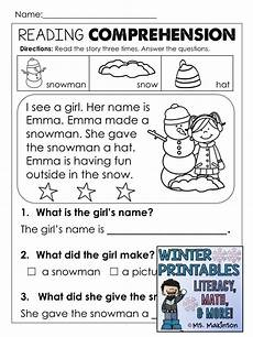 winter reading worksheets 20078 winter printables literacy math science literacy reading activities math