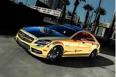 2014 cls550 in complete gold chrome vinyl wrap on 22