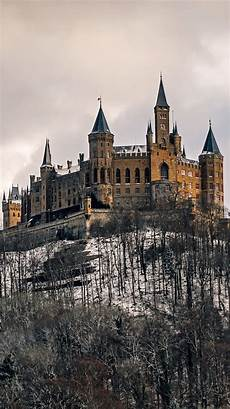 winter germany iphone wallpaper germany castle hohenzollern trees snow winter 750x1334