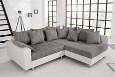 Sofa Grau Weiß - design ecksofa mit hocker loft wei 223 strukturstoff grau