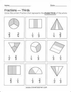 fraction worksheets third grade 4112 activity on fractions thirds worksheets for children