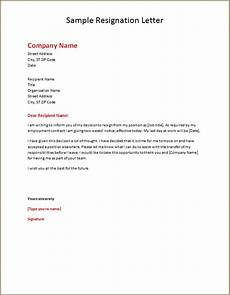 resignation sle letters template word excel templates
