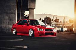 Subaru Impreza Wrx Sti Stance Low Red Color Sun Car Front