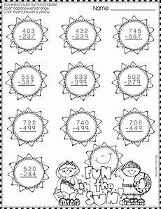subtraction with regrouping worksheets summer 10707 summer 3 digit subtraction with regrouping color by code printables math resources math