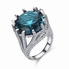 blue stone wedding rings luxury cz gem wedding ring blue stone bijoux bands jewelry engagement women rings bague big
