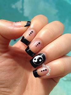 black french tip nails with a yin yang accent because i