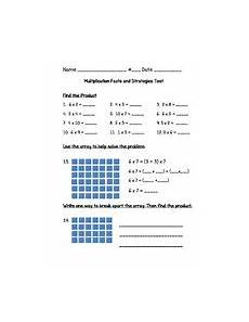 multiplication facts and strategies test go math 3rd grade chapter 4 teaching resources