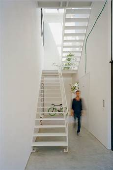 White Metal Staircase Apartment Building By An Up