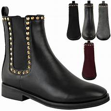 womens flat black chelsea ankle boots work formal gold