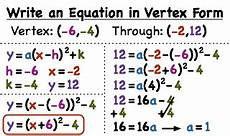 finding quadratic equation in vertex form from graph