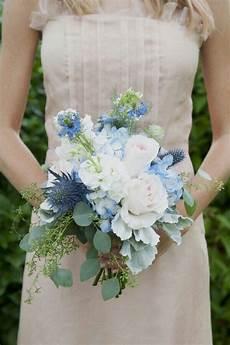sweet wedding bouquet featuring pretty blue hydrangea