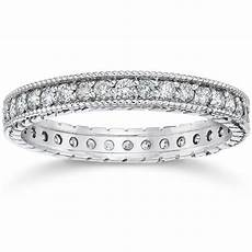 5 8ct vintage diamond engraved eternity ring 14k white gold ebay