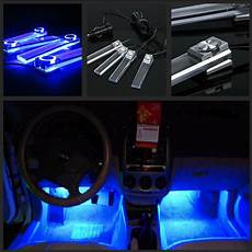 glowing interior 4x blue led car charge 12v glow interior floor decorative