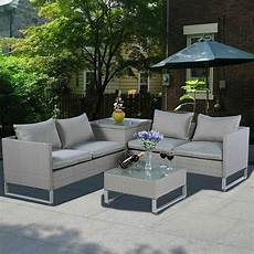 4pcs rattan wicker patio sofa cushion seat furniture lawn outdoor gray new ebay