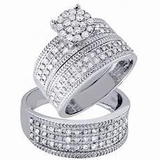 diamond trio engagement ring wedding band 14k white gold his hers 1 ct