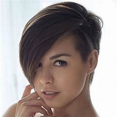 haircut short on one side long on the other pixie undercut for straight and curly hair