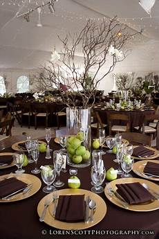 green and brown party green and brown centerpiece