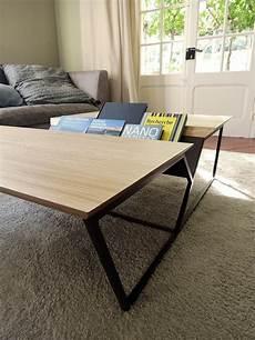 table basse revue acier et bois massif fabrication