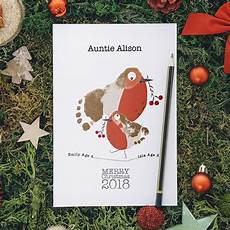 robin footprints a5 personalised christmas cards keepsakes by