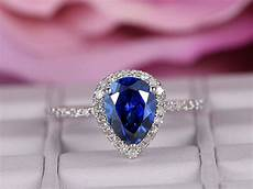 6x8mm sapphire engagement ring 14k white gold diamond band