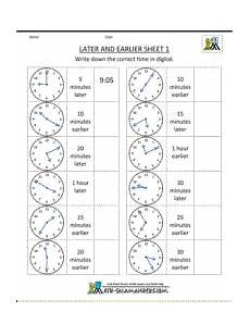 time clock worksheets 2nd grade 3618 telling time clock later and earlier sheet 1 clock worksheets learning time clock 3rd grade