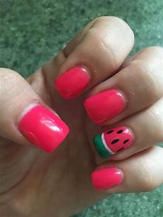 watermelon nails acrylic and gel polish watermelon nail