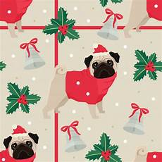 merry christmas seamless pattern with the pugs vector free download