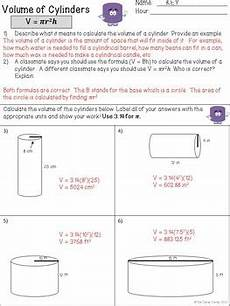 volume of cylinders worksheets by the clever clover tpt