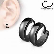 boucle d oreille noir homme paire boucles d oreille homme anneaux acier noir