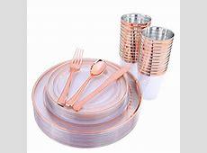 150 Pieces Rose Gold Cups & Plastic Plates & Disposable