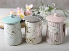 Pink Kitchen Canisters Uk by Set Of 3 Cottage Flower Ceramic Storage Jars